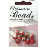 8mm Round Red Cloisonne Bead