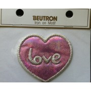 Motif - Iron On - Pink/Silver Love Heart