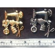 Brooch - Sewing Machine - Gold