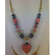 Love Heart Necklace - Bead Kit - Vibrant Red