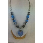 Love Heart Necklace - Bead Kit - Deep Aqua