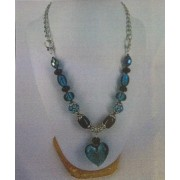 Love Heart Necklace - Bead Kit - Peacock Green