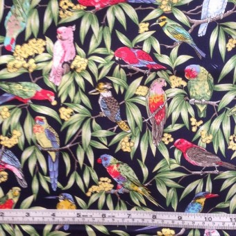 Birds in Paradise on navy b/g by Nutex