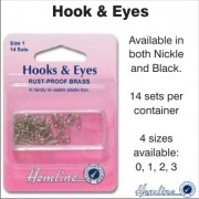 Hooks & Eyes - Nickle - Size 2
