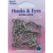 Hooks & Eyes - Nickle - Size 9