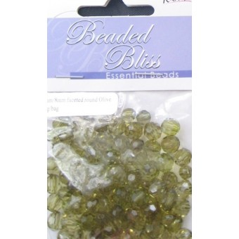 Bead - 6mm/8mm Faceted Round Olive - 20g/bag