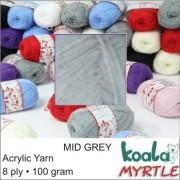 Yarn Acrylic - 8 Ply - Mid Grey