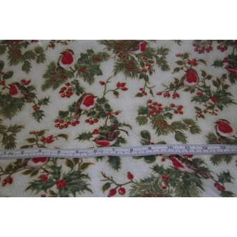 """""""Magical Xmas"""", Robins and holly, F523 by Fabric Freedom"""