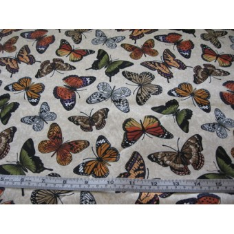 """""""Nature"""", butterflies on cream b/g by Timeless Treasures #9262"""