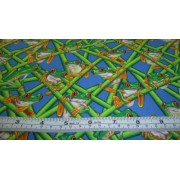 green frogs on cane with blue b/g by Timeless Treasures ROYCE-C4378