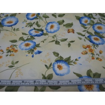 """""""Morning Glory"""" on cream b/g by Timeless Treasures"""