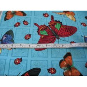 butterflies and ladybugs on turquoise b/g by Cranston