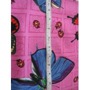 butterflies and ladybugs on hot pink b/g by Cranston
