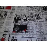 """Poppy Lane"" newsprint by Timeless Treasures, Poppy C6986"
