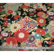 Floral on black b/g by Cosmo Textile Co K2036