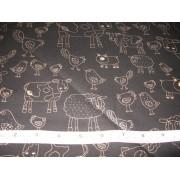 Farm animals, gold on black b/g by Timeless Treasures #7745