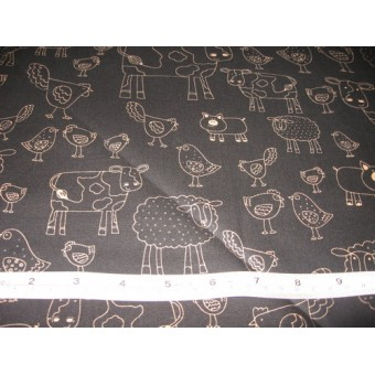 Farm animals, gold on black b/g by Timeless Treasures #7745