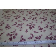 burgundy flowers on raffia b/g