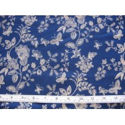 White on navy floral and butterflies #45931/T
