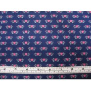 Pink hearts on navy b/g