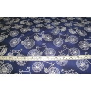 Bicycles (white) on dark blue b/g by Timeless Treasures C1900