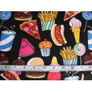 Takeaway Foods on black b/g by Timeless Treasures FUN-7411