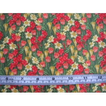 """Spring on the Farm"" by Avlyn K2318.403, daffodils, tulips, on green bg"