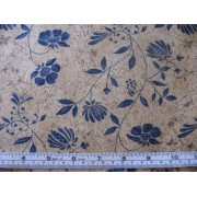 """Pottery"" Erlanger Group #2886, blue floral on light brown b/g"