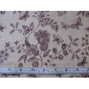 Burgundy floral with butterflies on beige b/g #45945/T
