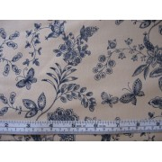 Navy floral with butterflies on beige b/g #45945/T
