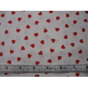 """Hearts"" by Fabric Freedom F301-1, red hearts on white b/g"