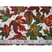Fall Leaves - printed under license by David Textiles Inc., #AG-9113-9B, autumn leaves on cream b/g