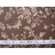 Cream flowers and butterflies on brown b/g, #45931/T
