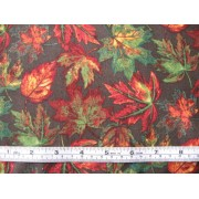 Fall Leaves - printed under license by David Textiles Inc., #AG-9113-9B, autumn leaves on chocolate b/g