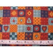 """Brown, turquoise, navy and gold 1"""" squares"""