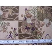 """Ukikusa Sushi"" by Cosmo Textiles K8115, aubergine flowers / brown"
