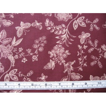 White flowers and butterflies on burgundy b/g, 45931/T